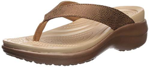 Crocs Damen Capri Metallictxt Wedge Flip W Clogs, Braun (Bronze/Bronze 860), 42/43 EU