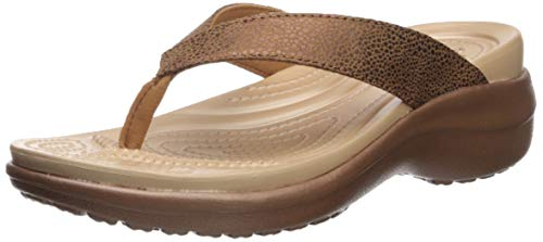 crocs Damen Capri Metallictxt Wedge Flip W Clogs, Braun Bronze 860, 39/40 EU