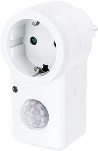 Tussenstekker met bewegingsmelder 120° 230V - geschikt voor LED + schemeringssensor - AUTO - ON - OFF