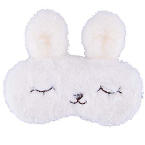 Ulife Mall Antifaz para Dormir Máscara de Ojo de Conejo de Kawaii Máscara Transpirable de Sueño para Viaje Cubierta de Ojo de Felpa Suave con Banda de goma Elástica para Niños Chicas Mujer