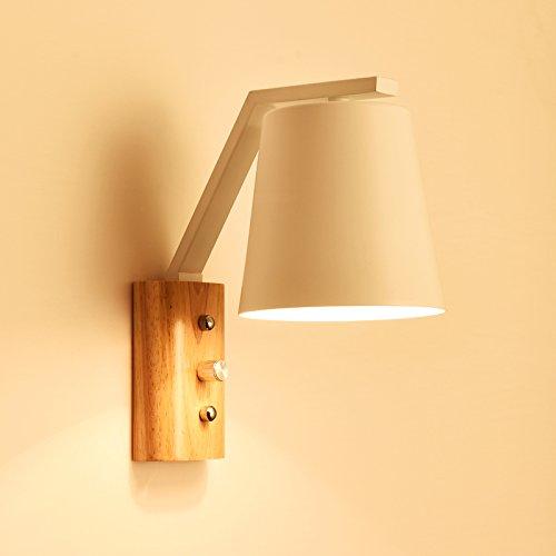 MJSM Light Wandleuchte Holzwand liegend Kammer Nachttischlampe Wohnzimmer TV Hintergrund kreativer individueller Treppenlicht - Lampe Gang Balkon, 8090 weiß - mit einem Schaltknopf