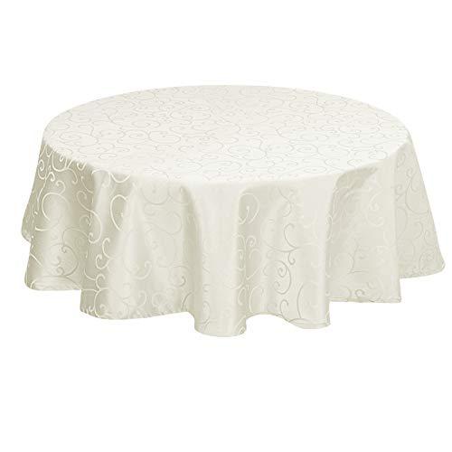 EUGAD Tischdecke Damast Ornamente Seidenglanz Kringel/Circle Design Tafeldecke mit Saum, Tischtuch Größe & Farbe wählbar, Edel Tisch Decke Abwaschbar und Bügelfrei, Rund 160 cm Creme