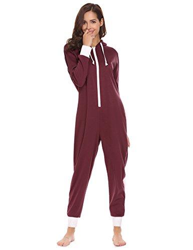 Ekouaer Women's Onesie - Hooded Zip Up One Piece Pajamas & Sleepwear Wine Red