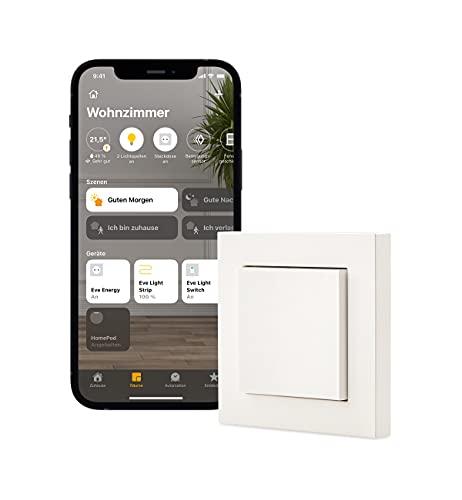 Eve Light Switch – Interruttore intelligente (Apple HomeKit), commutatore semplice, commutatore e incrociato, compatibile con vari interruttori programmi, design regolabile, senza bridge