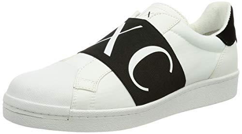 Armani Exchange Mens Oslo Elastic Band Low Slip ON Sneaker, White,43 EU