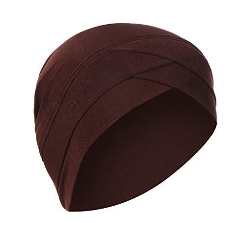 Lazzboy Kopftuch Chemo Cancer Mütze Seide Gefütterte Ethnic Cloth Turban Cap Für Frauen Solid India Hut Muslim Ruffle Beanie Wickelschal(Kaffee)