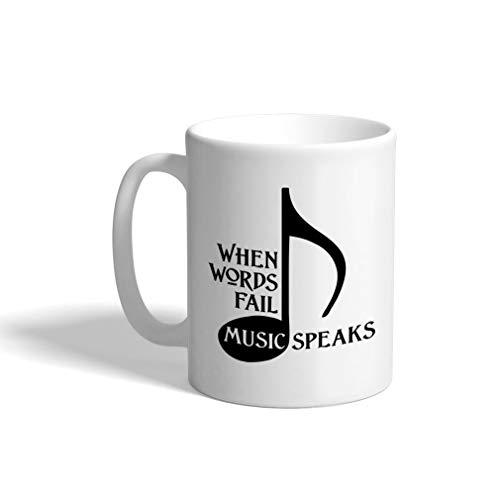 When Words Fail Music Speaks Ceramic Coffee Tea Mug Cup 11 Oz Holiday Christmas Hanukkah Gift For Men & Women