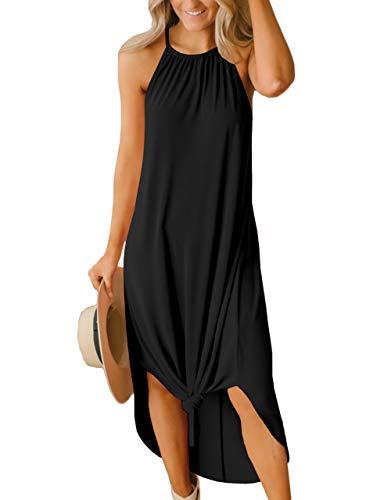 Women Black Halter Maxi Dresses Summer Casual Long Loose Beach Side Slit Lightweight Sundress S