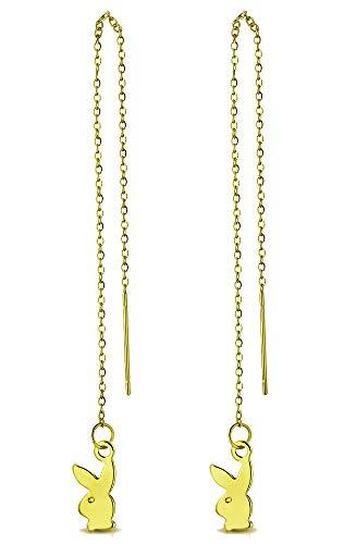 Tata Gisèle - Pendientes de acero inoxidable dorado – Cadena colgante – Playboy