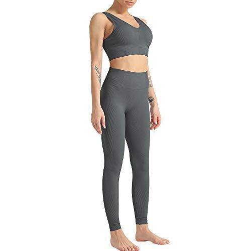 Vertvie Damen Sport Anzug Trainingsanzug Langarmshirt Leggings Set Active Wear Gym Yoga Fitness Workout 92 Teilig Sportanzug Yogaanzug Fitnessanzug (B-Set Grau, S)