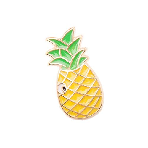 SFFSMD Ananas Toucan Regenbogen-Lippen Saft Flamingos Sunglass Wassermelone-Hut Gitarre Brosche Jeansjacke-Abzeichen Fashion Jewelry (Metal Color : Pineapple)
