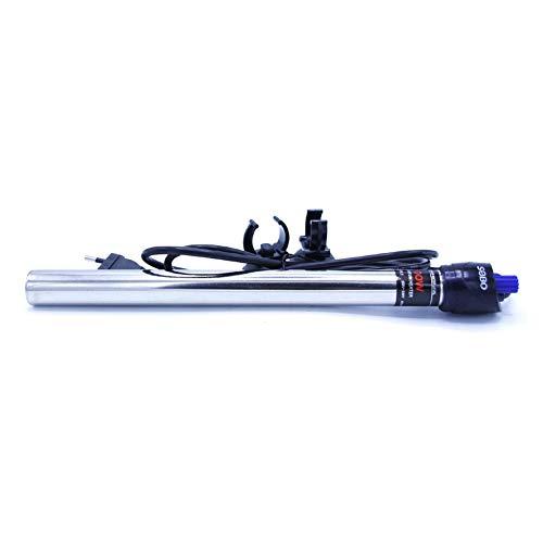 takestop Calefactor termostato para acuario de 50-100 litros, de acero inoxidable, 100 W, 29,5 cm