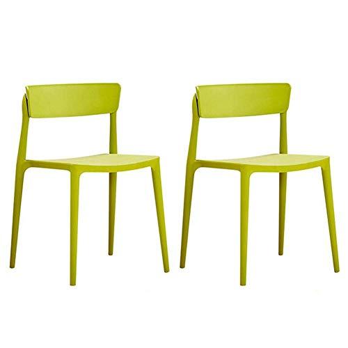 Dining Chair Set 2 Nordic Leisure PP Kunststoff-Stuhl stapelbar Rückenlehne Tisch Stuhl Moderne Möbel Kaffee Stuhl (Farbe: blau)