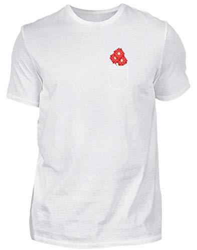 Rode bloemen in de tas - fris en elegant design voor hippe romantiek - heren shirt
