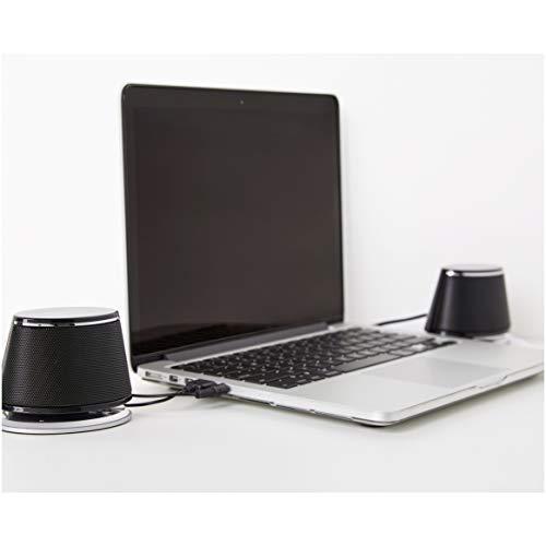 Amazon Basics - PC-Lautsprecher mit dynamischem Sound, USB-Betrieb, Schwarz, 4 Paar