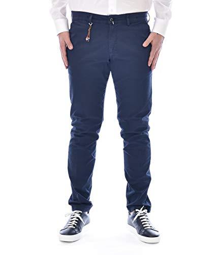 Exigo - Pantalón para hombre, color azul oscuro, de algodón, fabricado en Italia turquesa 42