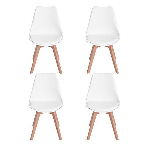 H.J WeDoo 4 x Wohnzimmerstuhl Esszimmerstuhl Bürostuhl mit Massivholz Buche Bein,Retro Design Gepolsterter Stuhl Küchenstuhl Holz, Weiß