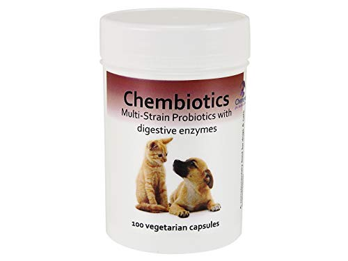 Chemeyes Pet Health Solutions Probiotics for dogs-100 capsules-help your dogs upset tummy with multistrain probiotics for dogs with added digestive enzymes. Chicken flavoured. 100 Capsules