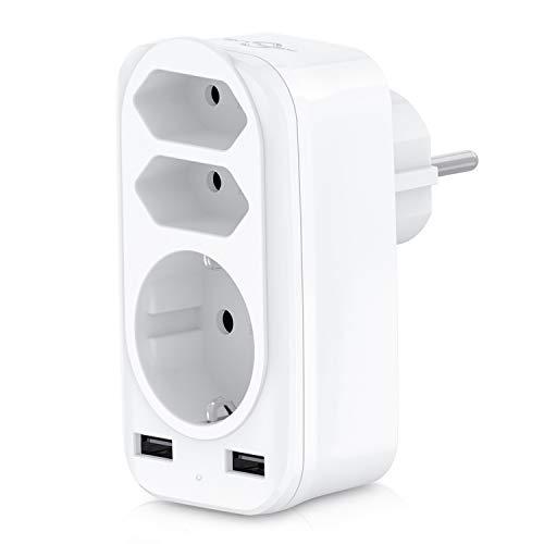 Steckdosenadapter, KEPLUG USB Steckdose 5-in-1 Stumm, 3 Steckdosen (4000W) & 2 USB Anschluss (2.4A), mehrfachsteckdose Kurzschlussschutz & Überstromschutz, für Hause, Reise, Büro (Schwaches Licht )