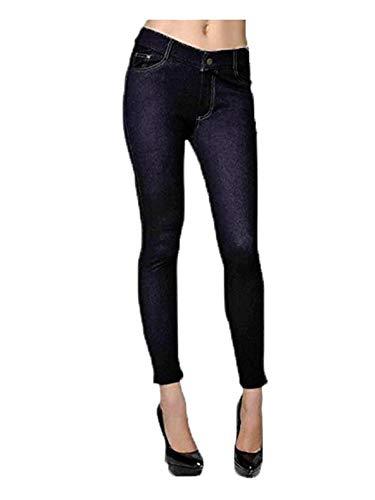 YELETE Women's Classic Solid Capri Jeggings (Black, XXX-Large)