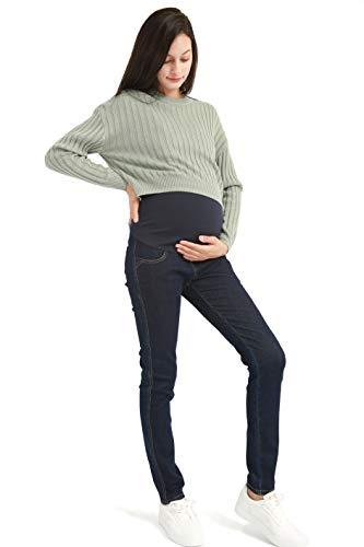 Bamans Jeans Premaman per maternità, Pantaloni Denim Pants Skinny Elasticizzati Vita Regolabile la Pancia e Comodo (Blu Scuro, XX-Large)