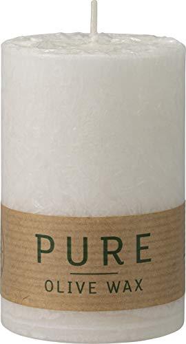 safe candle Pure Olive Wax Kerze selbstverlöschend, 4 Stück, umweltfreundlich, plastikfreie Verpackung (60% weniger CO₂), Höhe 9 cm/Ø 6 cm, 27 Std. Brenndauer (Natural)