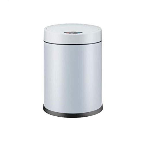 HEWEI Afvalemmer, inductie, 8 l, accu-oplader, twee intelligente huisvuilnisemmer, roestvrij staal, bioscoopodus, touch-schakelaar (kleur: wit, maat: batterijmodus) Battery Mode-white