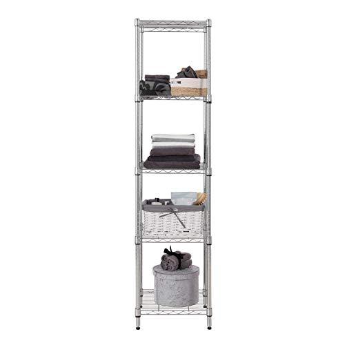 Unidad de almacenamiento de esquina cromada, resistente, de 5 niveles, 160 kg UDL (capacidad de carga masiva de 800 kg), 1838 mm de alto x 457 mm de ancho x 457 mm de profundidad
