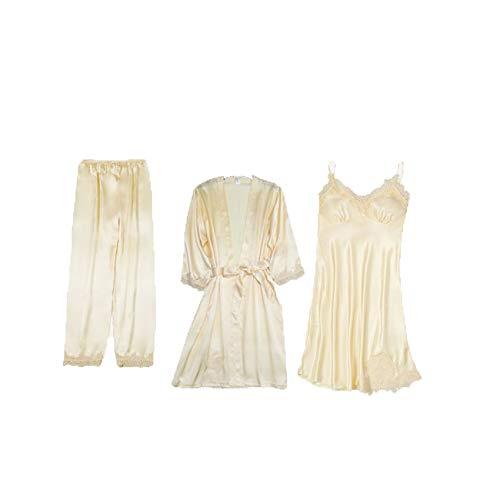 Conjuntos De Pijamas De Encaje Satinado para Mujer Pantalones con Tirantes Superiores Traje Ropa De Dormir Primavera OtoñO Ropa De Casa Ropa De Dormir Vestido De BañO M-XXL