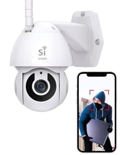 Cámara de Seguridad Exterior IP WiFi 1080P Si Smart Compatible con Smart Life, con visión Nocturna, Impermeable, Audio bidireccional, detección y Seguimiento de Movimiento