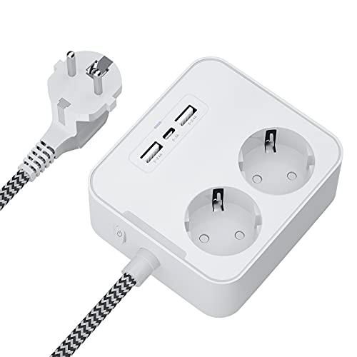 Gogotool 2 Fach Steckdosenleiste, Mehrfachsteckdose mit 2 USB und 1 Typ-C Port, 5-in-1 Steckdosenadapter Steckdosen Überspannungsschutz mit 1,5m Kabel und Schalter, für Elektrogeräte, Smartphone, PC