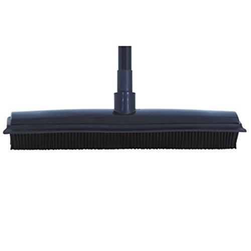 MSV 100475 Gummibesen Haarbesen mit Stiel schwarz Teleskop-Stiel und Gummilippe zum mühelosen Entfernen von (Tier-) Haaren, Staub, Schmutz, Wasser