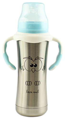 MoomooBaby Stainless Steel Baby Bottle with Fast Flow Silicone Nipple & Matching Handle 8-Ounce