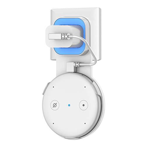 Soporte para Echo Input, Cozycase Wall Mount Holder para Exho Input, gestión de Cables incorporada sin Tornillos, Soporte Compacto en Las cocinas, baño (Blanco)