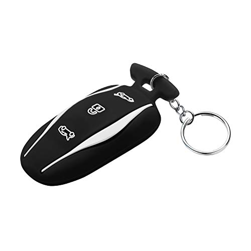 OLAIKE Key Fob Cover for Tesla Model 3/Model S, Silicone All-Inclusive Car Keychain Key Cover Protector Case Holder with Key Chain for Tesla Model 3/Model S (Black, Model 3/S)