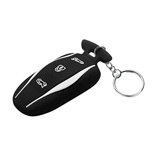 OLAIKE Key Fob Cover für Tesla Model 3 / Model S, Hochwertige Silikon-All-Inclusive-Auto-Schlüsselbund-Schutzhülle mit Schlüsselring-Kette für Tesla Model 3 / Model S(Schwarz, Modell 3 /Modell S)