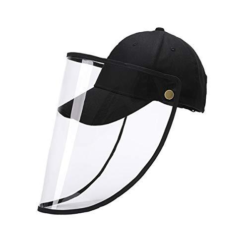 防護帽 防風キャップ 野球帽 日よけ帽子 つば広ハット フェイスカバー フェイスガード クリアバイザー ハット キャップ 花粉・飛沫・ほこり・黄砂・粉塵対策防護帽 レインハット UVカット 取り外し可能 調節可能 男女兼用 (ブラック(子供用))