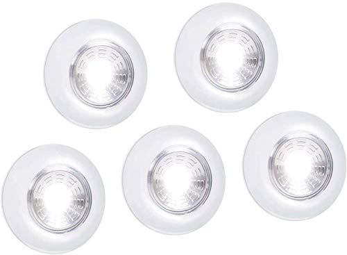 VABOO Luz LED para Armario, Luz de Armario Inalámbrica LED 5PCS Lámpara Adhesiva Batería, Luz Nocturna LED, Lámpara Táctil, Luces LED Inalámbricas para Gabinetes, Armario,Pasillo