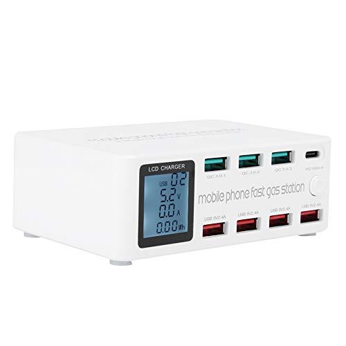 Goshyda 8 in 1 Stazione di Ricarica USB Multifunzione Staffa per Presa Intelligente 100 W Massimo 100‑240 V Ampio Schermo(European regulations)