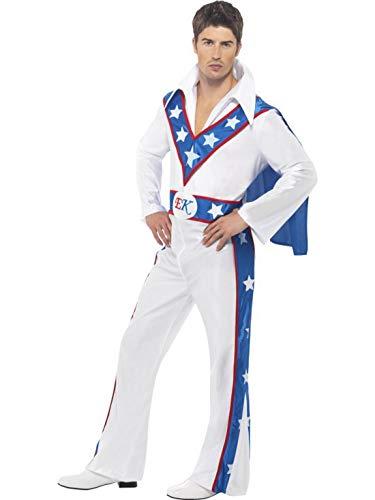 Karnevalsbud - Herren Männer Evel Knievel Stuntman Kostüm mit Overall Einteiler und Umhang, perfekt für Karneval, Fasching und Fastnacht, M, Weiß