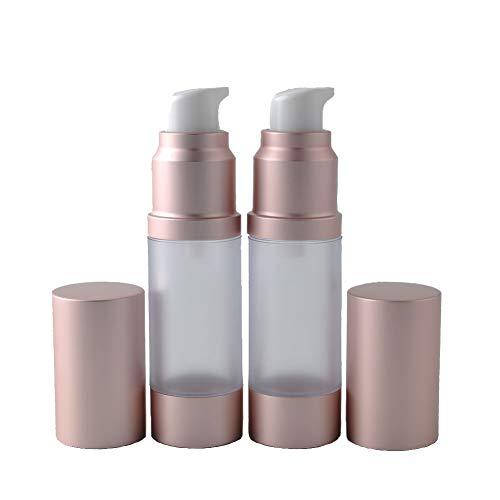 AS-Pump-Flasche aus Kunststoff, luftlos, Lotionspender mit rotgoldenem Deckel, tragbar, leer, nachfüllbar, Behälter für Lotion, Essenz, Emulsion, Essenz, Serum, 2 Stück