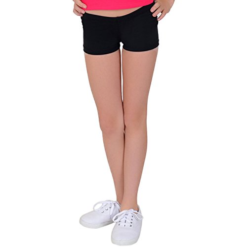 Stretch is Comfort Girl's Cotton Stretch Booty Shorts Black Large