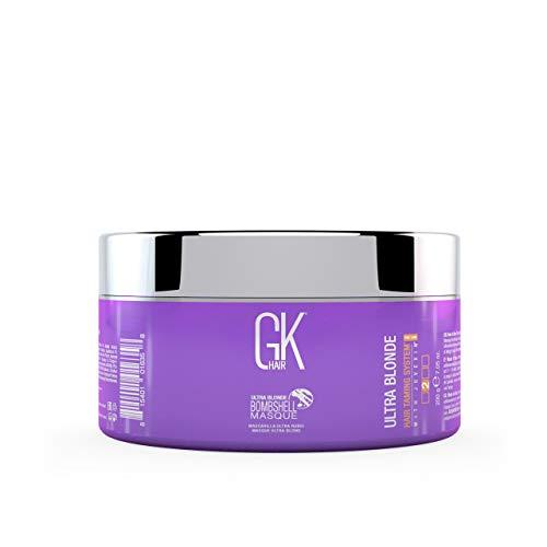 Global Keratin GKhair Ultra Blonde Bombshell Masque 200g / 7.5 fl. oz | Semi Permanent Pigments de couleur pour cheveux blonds type - Élimine les tons de laiton non désirés