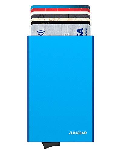 LUNGEAR Tarjetero para Tarjetas de Crédito de Aluminio RFID Bloqueo, Metalico Cartera Tarjetero Hombre con Automática Pop Up para 5 Tarjetas, Azul