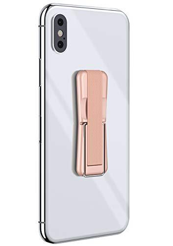 ONEFLOW® ClipGrip - Fingerhalter mit Aufstellfunktion für alle Lenovo Handys | Einfache Einhandbedienung mit elastischem Band - Selbstklebend, Rosé-Gold