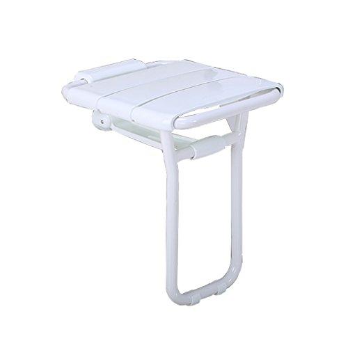 Badehocker 304 Edelstahl Faltbare Dusche Klappsitz Alter Mann Handlauf Sweeping Badestuhl Badezimmer (Color : Weiß, Size : 40.7 * 36 * 48cm)