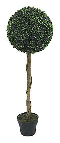 Decovego Buchsbaum Kugel Künstliche Pflanze Buxus Deko im Blumentopf Echtholz 120cm