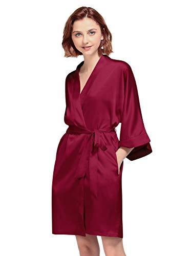 AW BRIDAL Femmes Kimono vtements de Nuit Marie Robes de Chambre et Kimonos Satin Rayonne Peignoir Chemise de Nuit, Vin Rouge XL