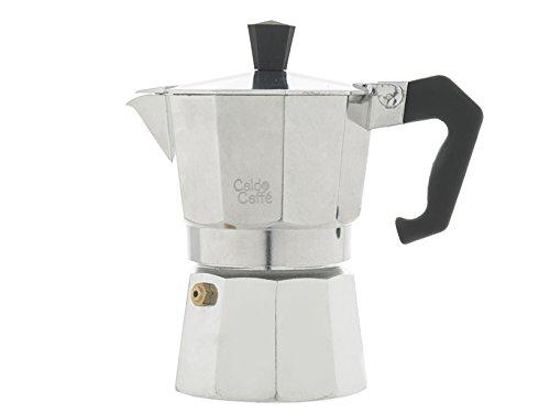 Home Caldo Caffè - Cafetière Expresso 3 Tasses Aluminium, Gris, 15 x 8,5 x 15,5 cm