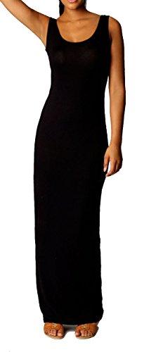 Strandkleid Sommerkleid Boho Style Maxi Lange Kleid Stretch (XXL, Schwarz)